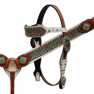 SHILOH STABLES AND TACK SHOWMAN HS/BC SET W/PAINTED AZTEC 85010