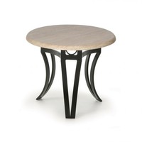 Salinas T-Top-Travertine End Table 24 Round