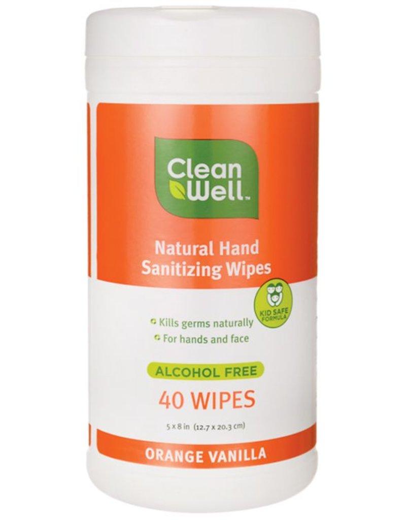 CleanWell Hand Sanitizer Wipes - Orange Vanilla Scent 40 count