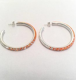 Chelsea Taylor Sun & Clear Earrings (Thin Large Hoop)
