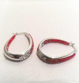 Fan Ware Earrings (White & Red)