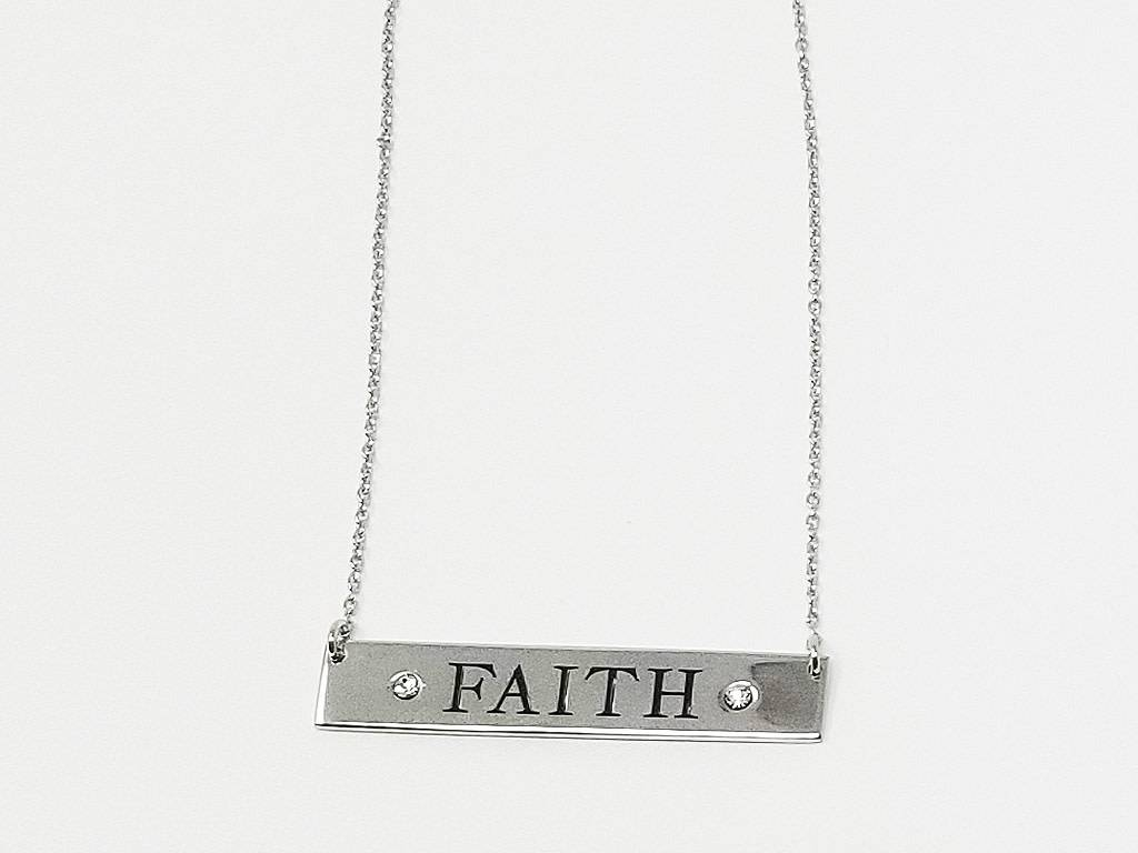 "RHOD OVER BRASS ""FAITH"" CLEAR"