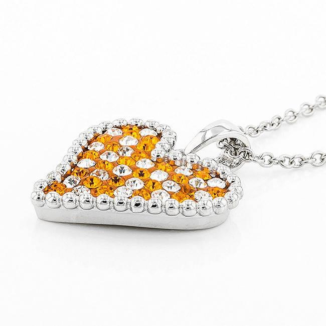HEART SHAPED ORANGE & WHITE PENDANT