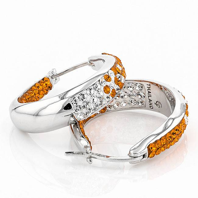 Chelsea Taylor ORANGE & CRYSTAL  LARGE HORSESHOE EARRINGS