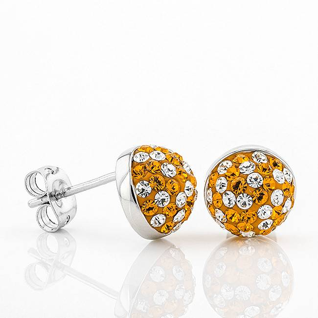 Chelsea Taylor DOME BUTTON STUD EARRINGS ORANGE  & WHITE