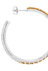 Chelsea Taylor ROUND HOOP EARRINGS ORANGE & WHITE CRYSTAL