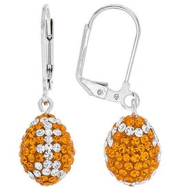 Chelsea Taylor ORANGE & CRYSTAL 3-D FOOTBALL EARRINGS