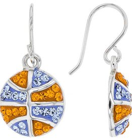BASKETBALL DANGLE EARRINGS ORANGE & LIGHT SAPPHIRE