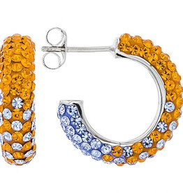 ORANGE & LIGHT SAPPHIRE CRYSTAL SMALL HOOP EARRINGS