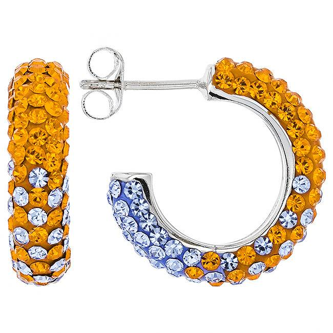 ORANGE & LIGHT SASPPHIRE CRYSTAL SMALL HOOP EARRINGS