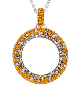 ROUND CIRCLE PENDANT ORANGE & LIGHT SAPPHIRE