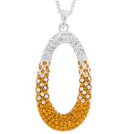 LARGE OVAL ORANGE & WHITE PENDANT