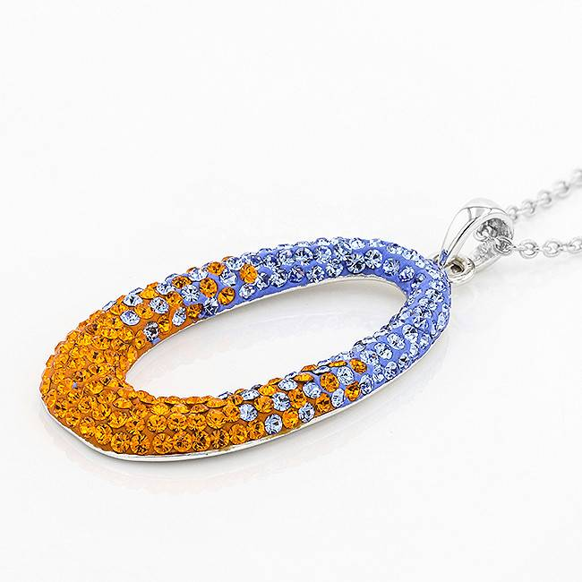 LARGE OVAL ORANGE & LIGHT SAPPHIRE PENDANT