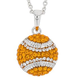 BASEBALL ORANGE & WHITE CRYSTAL PENDANT