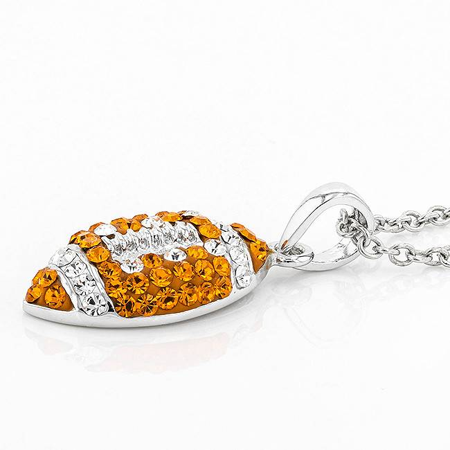 Chelsea Taylor ORANGE & CRYSTAL FOOTBALL PENDANT