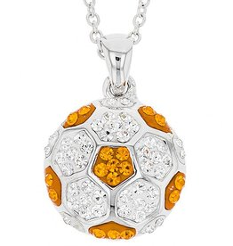 Chelsea Taylor ORANGE AND WHITE SOCCER BALL PENDANT