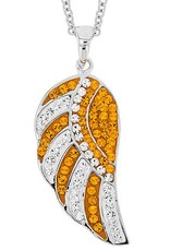 Chelsea Taylor ORANGE AND WHITE ANGEL WING PENDANT