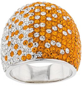 SUPER WIDE TAPERED ORANGE & WHITE RING