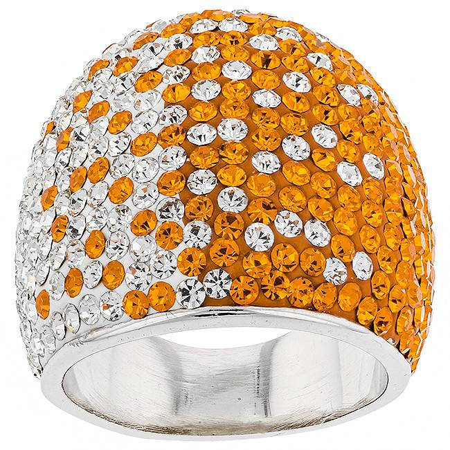 Chelsea Taylor SUPER WIDE TAPERED ORANGE & WHITE RING