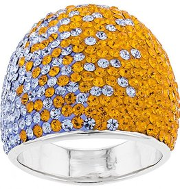 SUPER WIDE TAPERED ORANGE & LIGHT SAPPHIRE RING