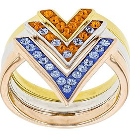 ORANGE & LIGHT SAPPHIRE CRYSTAL CHEVRON RING