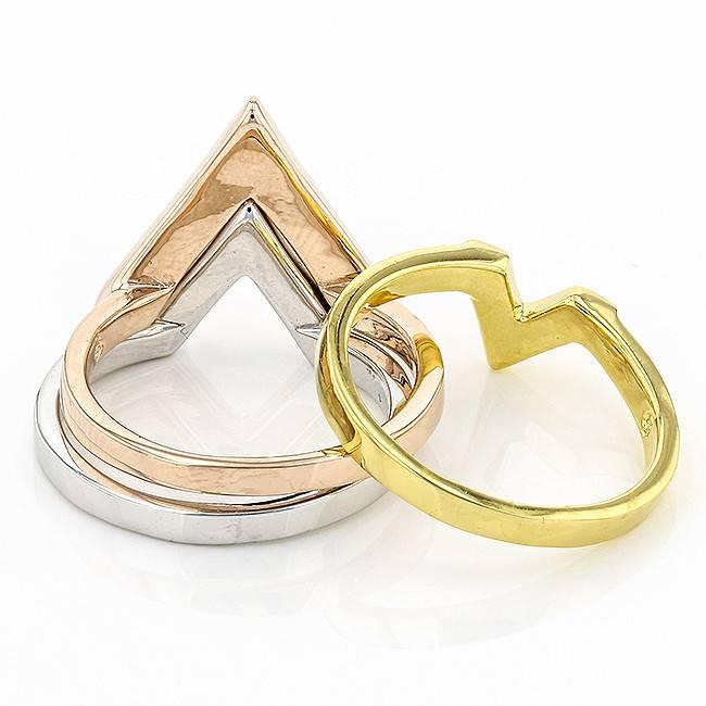 ORANGE & LIGHT SAPPHIRE CRYSTAL CHEVRON RING