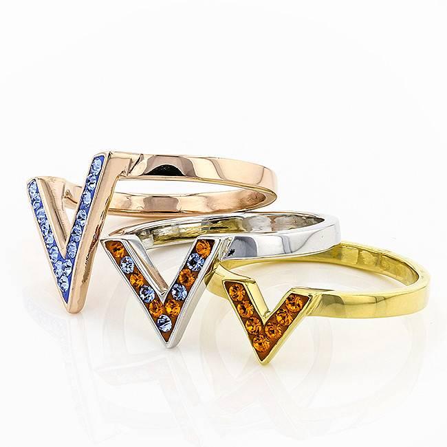 Chelsea Taylor ORANGE & LIGHT SAPPHIRE CRYSTAL CHEVRON RING