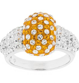 ORANGE AND WHITE CUSHION RING