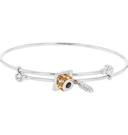 DANGLE FLEX GRADUATION CHARM BANGLE ORANGE & WHITE
