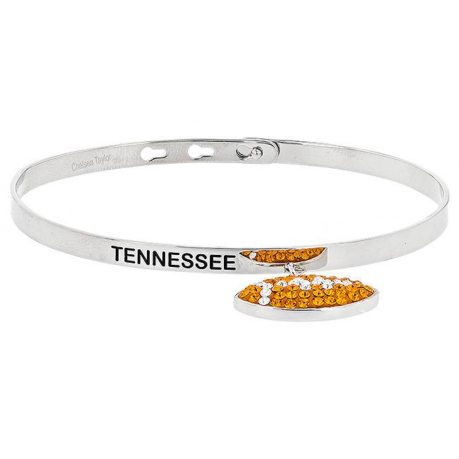 """Chelsea Taylor """"TENNESSEE"""" MEMORY BANGLE WITH DANGLE FOOTBALL"""