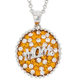 Chelsea Taylor ROUND MOM PENDANT ORANGE & WHITE