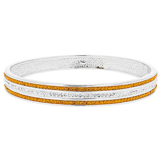 3 ROW ORANGE AND WHITE CRYSTAL BANGLE BRACELET