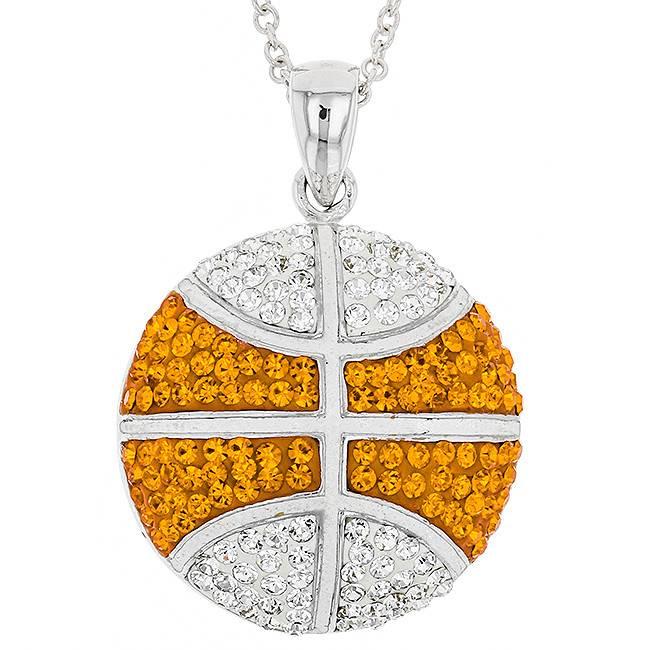 Large orange and white basketball pendant gemstore by jewlery large orange and white basketball pendant mozeypictures Images