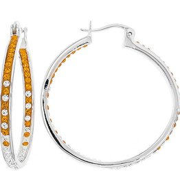 INSIDE OUT HOOP ORANGE & WHITE EARRINGS