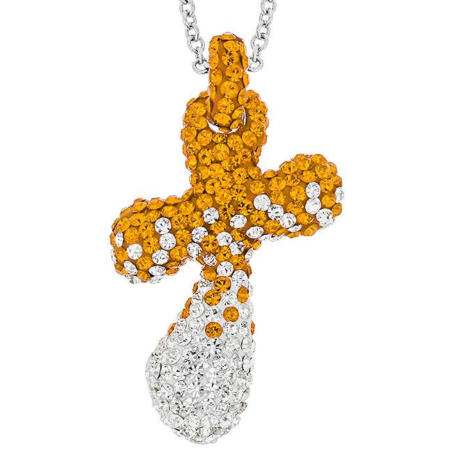 CURVED CRYSTAL CROSS ORANGE AND WHITE