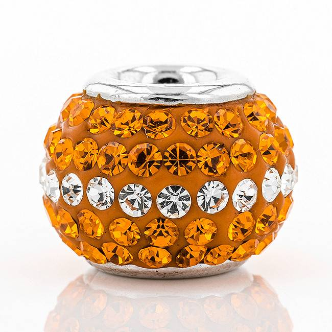 ORANGE & WHITE CENTER CRYSTAL CHARM