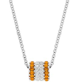 BARREL CHARM ORANGE & WHITE PENDANT