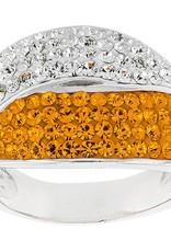 Chelsea Taylor SWIRL ORANGE & WHITE CRYSTAL RING