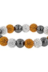 Chelsea Taylor (LARGE) ORANGE AND WHITE CRYSTAL BALL BRACELET