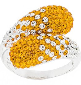 ORANGE/WHITE PRECIOSA CRYSTAL BYPASS RING