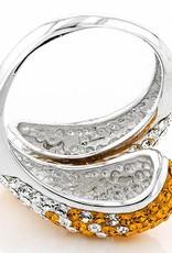ORANGE/WHITE PRECIOSA CRYSTAL BYPASS RING
