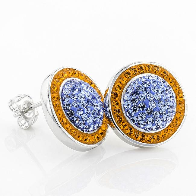 BUTTON CIRCLE STUD ORANGE & LIGHT SAPPHIRE EARRINGS