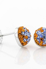 ORANGE & LIGHT SAPPHIRE CRYSTAL STUD EARRINGS
