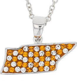 Chelsea Taylor SOLID STATE OF TN ORANGE & WHITE PENDANT