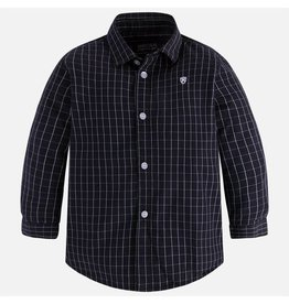 Mayoral Long Sleeve Window Pane Plaid Print Shirt