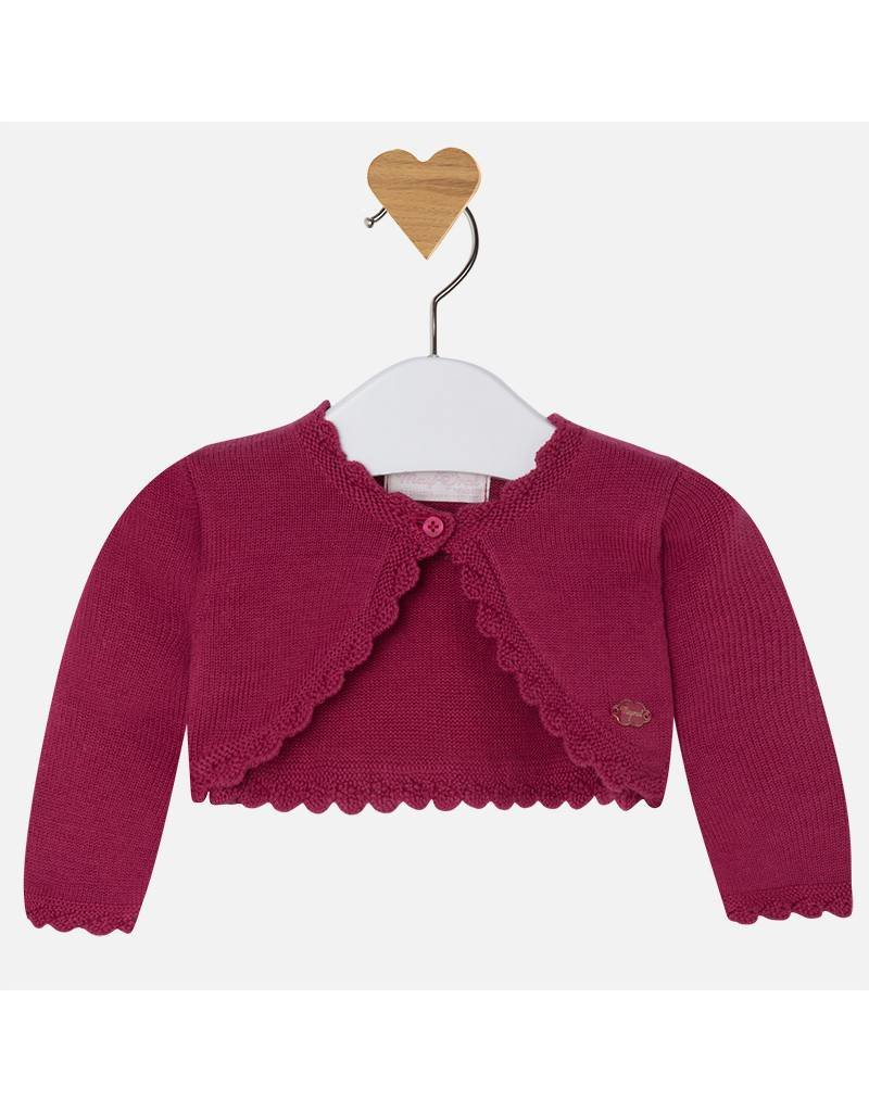 Mayoral Cropped Raspberry Baby Cardigan