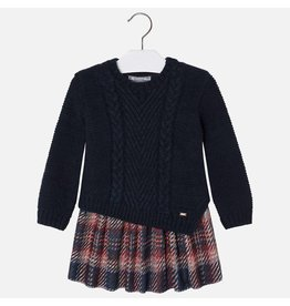 Mayoral Mayoral: Knit Dress with Plaid Skirt