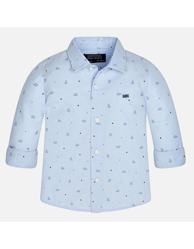 Mayoral Bear Print Baby Button Down
