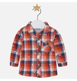 Mayoral Mayoral: Moose Print Plaid Baby Shirt