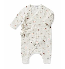 Angel Dear Ditsy Brown Fox Muslin Wrap Coverall